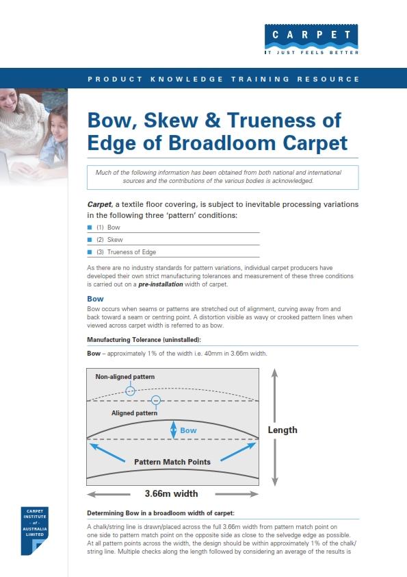 Bowing and Skewing & Trueness of Edge of Broadloom Carpet